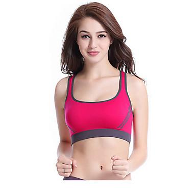 Dame SportsBH'er Hurtigtørrende Åndbart Komprimering Svedreducerende Kompressionstøj for Træning & Fitness Løb Nylon Lilla Rose Rød Lys