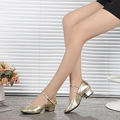baratos Super Ofertas-Mulheres Couro Sapatos de Dança Latina / Sapatos de Dança Moderna Presilha Salto Sem Salto Personalizável Prata / Dourado / Ensaio / Prática