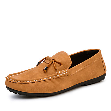 Loafers og Slip-ons-Ruskind Læder-Komfort-Herre-Sort Grå Kaffe-Udendørs Kontor Fritid-Flad hæl