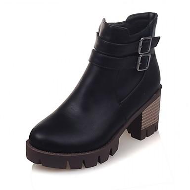 Hæle-Syntetisk-Cowboystøvler Snowboots Ridestøvler Modestøvler-Dame-Sort Grå Beige-Bryllup Kontor Formelt Fritid Fest/aften-Tyk hæl