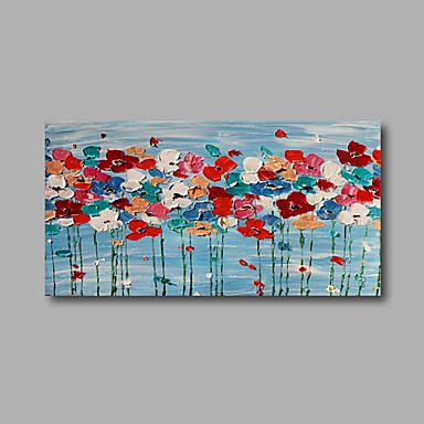 Handgeschilderde Bloemenmotief/Botanisch Horizontaal, Modern Kangas Hang-geschilderd olieverfschilderij Huisdecoratie Eén paneel