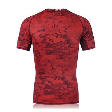 Homens Camiseta de Corrida Manga Curta Secagem Rápida Respirável Compressão Redutor de Suor Pulôver Blusas para Exercício e Atividade