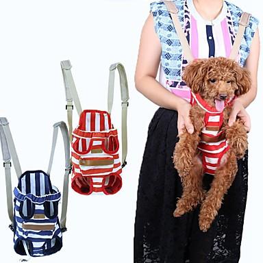 Gato Cachorro Tranportadoras e Malas frente Backpack Animais de Estimação Transportadores Portátil Respirável Riscas Vermelho Azul
