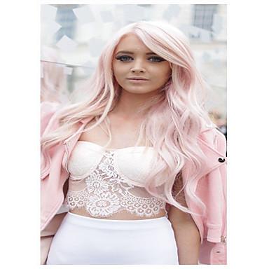 povoljno Perike i ekstenzije-Sintetičke perike Wavy Kardashian Stil Sa šiškama Perika Pink Light Pink Sintentička kosa Žene Stražnji dio Pink Perika Dug