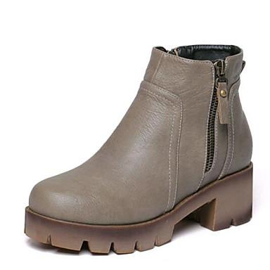 Støvler-Kunstlæder-Ridestøvler-Dame-Sort Grå-Udendørs-Platå Creepers