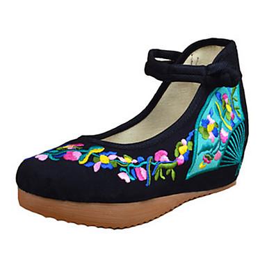 Dame Flate sko Komfort Mary Jane brodert sko Vår Sommer Høst Lerret Gange Avslappet Spenne Blomst Flat hæl Hvit Svart Rød Blå Flat