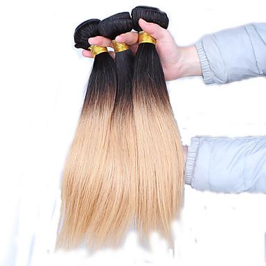 Φυσικά μαλλιά Περουβιανή Ombre Ίσια Προσθετική μαλλιών 3 Κομμάτια Μαύρο με καφέ