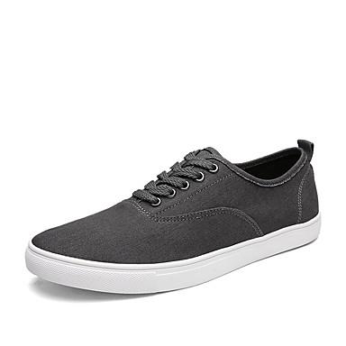 Sneakers-Denim-Komfort-Herre-Sort Blå Grå-Udendørs Fritid Sport-Flad hæl