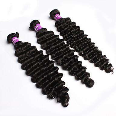 Brasilialainen Hiukset kutoo Syvät aallot Hiuspidennykset 3 osainen Musta