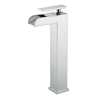 Modern Middenset Waterval with  Keramische ventiel Single Handle Een Hole for  Chroom , Wastafel kraan