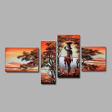 Hånd-malede Abstrakt / Landskab / Mennesker / Fantasi Oliemalerier,Europæisk Stil / Moderne / Parfumeret Fire Paneler CanvasHang-Painted