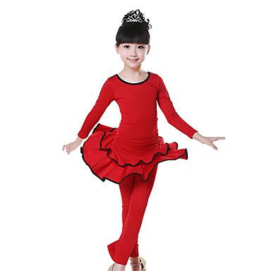 Latin Dans Dragter Børne Træning Mælkefiber Kryds & Tværs / Ruched 2 Dele Langt Ærme Naturlig Bukser / Top100:36cm, 110:38cm, 120:40cm,