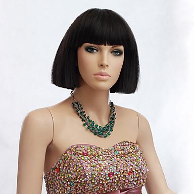 musta väri lyhyt suora peruukit Korkiton synteettiset peruukit naisille
