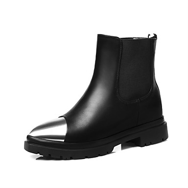 Støvler-LæderDame-Sort-Udendørs Formelt Fritid-Flad hæl