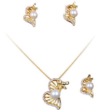 Conjunto de Jóias Personalizado Liga Dourado Colares Brincos Anéis Para Casamento Festa Diário Casual 1 Conjunto Presentes de casamento