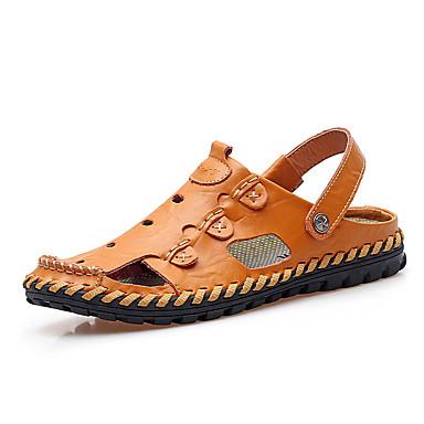 Miehet Sandaalit Comfort Synteettinen Kesä Kausaliteetti Kävely Comfort Tasapohja Musta Kultainen Khaki Tasapohja
