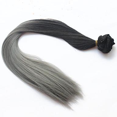2016 mode klip i ombre hår extensions lige langt dip dye hår syntetisk hår to tone klip ind på hair extensions