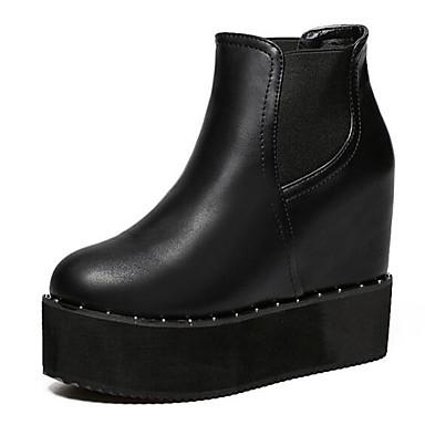 Støvler-Kunstlæder-Ridestøvler-Dame-Sort-Udendørs-Kilehæl