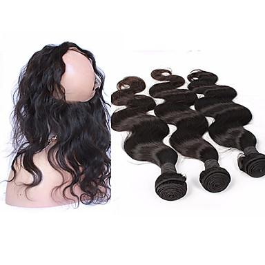 4 pakker Brasiliansk hår 360 Frontal / Krop Bølge Ubehandlet hår Hår Veft Med Lukker Hårvever med menneskehår Hairextensions med menneskehår