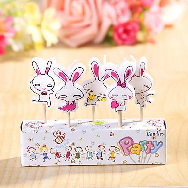 party dekoration HappyBirthday fødselsdag stearinlys sæt (5 stykker) søde kaniner lille stearinlys