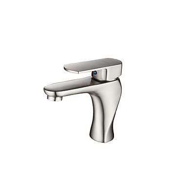 Moderne Becken Thermostatische Keramisches Ventil Ein Loch Einhand Ein Loch Gebürsteter Nickel, Waschbecken Wasserhahn