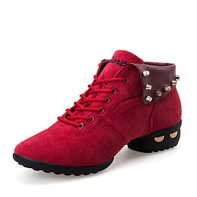 Damen Tanz-Turnschuh / Schuhe für modern Dance Leder Stiefel / Sneaker Niedriger Heel Keine Maßfertigung möglich Tanzschuhe Schwarz / Rot / Praxis