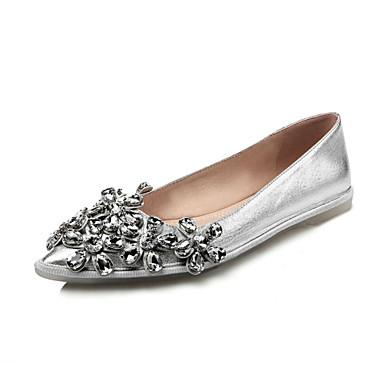 Fladsko-Læder-Komfort-Dame-Sort Sølv-Kontor Formelt Fritid-Flad hæl