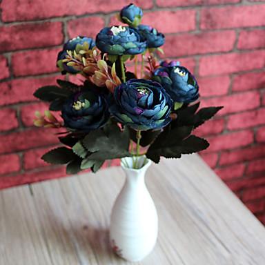 1pc 1 Afdeling Polyester / Plastik Camellia Bordblomst Kunstige blomster 7.4inch/19CM