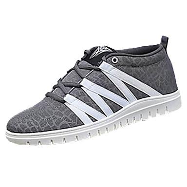 Herrer Sneakers Komfort Tyl Forår Efterår Atletisk Afslappet Komfort Snøring Flad hæl Sort Grå Grøn Blå Flad
