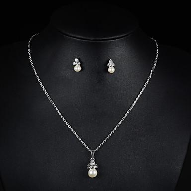 Damen Braut-Schmuck-Sets Halskette / Ohrringe Perle Strass Niedlich Party Künstliche Perle Hochzeit Party Ohrringe Halsketten Modeschmuck