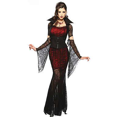 Vampyr Cosplay Kostumer Dame Halloween Festival / Højtider Halloween Kostumer Rød / Sort Blonde