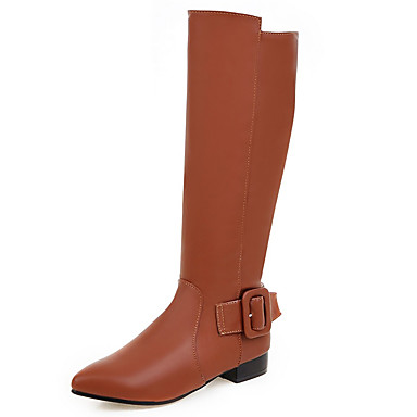 Naiset Kengät Tekonahka Kevät Syksy Talvi Bootsit Kävely Paksu korko Soljilla Vetoketjuilla Käyttötarkoitus Kausaliteetti Puku Musta