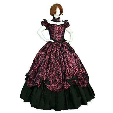 Gotisk Lolita Steampunk® Victoriansk Blonde Satin Dame Kjoler Cosplay Kortærmet Lang Længde