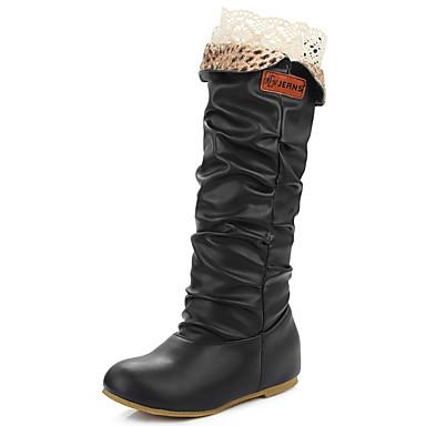 Damer Sko Kunstlæder Forår Efterår Vinter daske støvler Modestøvler Støvler Lave hæle Knæhøje støvler Til Afslappet Formelt Sort Gul Brun