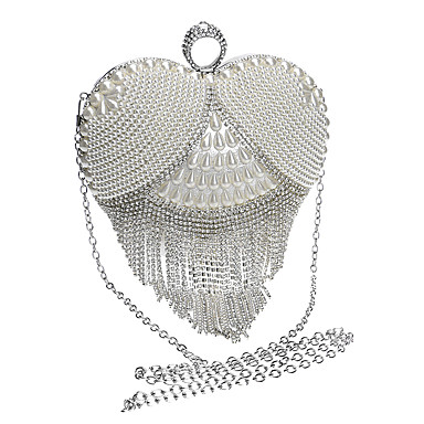 Women's Bags Polyester Evening Bag Rhinestone / Pearls / Tassel Gold / Black / Silver / Wedding Bags