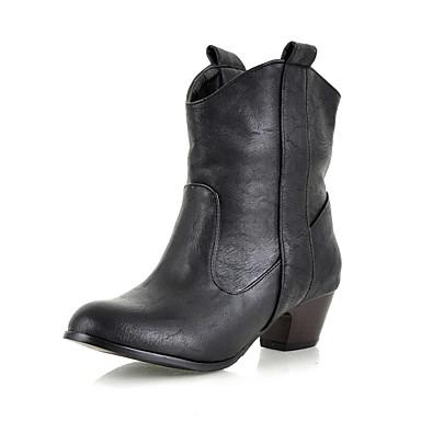 Bootsit-Leveä korko-Naisten-Tekonahka-Musta Ruskea Keltainen-Ulkoilu Toimisto Rento