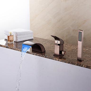 Antike Art déco/Retro Modern Romanische Wanne Wasserfall Handdusche inklusive LED Keramisches Ventil Drei Löcher Einhand Drei Löcher