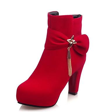 Bootsit-Leveä korko-Naisten-Fleece-Musta / Punainen-Häät / Ulkoilu / Puku / Rento-Saappaat