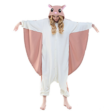 Adults' Kigurumi Pajamas Squirrel Flying Squirrel Animal Onesie Pajamas Polar Fleece Pink Cosplay For Men and Women Animal Sleepwear Cartoon Festival / Holiday Costumes