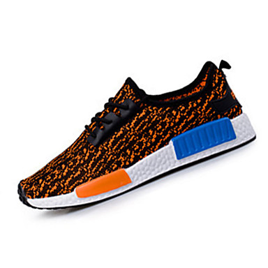Unisex-Tekstil-Flat hæl-Komfort-Sneakers-Fritid-Svart / Blå / Oransje