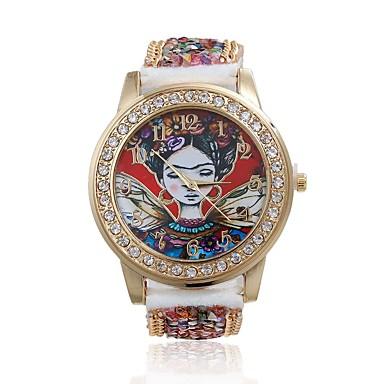 Mulheres Relógio de Moda Quartzo / imitação de diamante Couro Banda Flor Vermelho