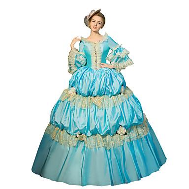 Et-Stykke/Kjoler Gotisk Lolita Steampunk® Victoriansk Cosplay Lolita Kjoler Ensfarvet Lang Længde Kjole Til Blonder Lærred Satin