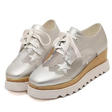 Sneakers-KunstlæderDamer-Hvid Sort Sølv-Udendørs Fritid-Platå Creepers