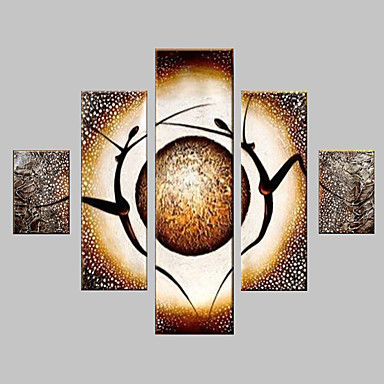 Ручная роспись Абстракция Любые формы холст Hang-роспись маслом Украшение дома 5 панелей