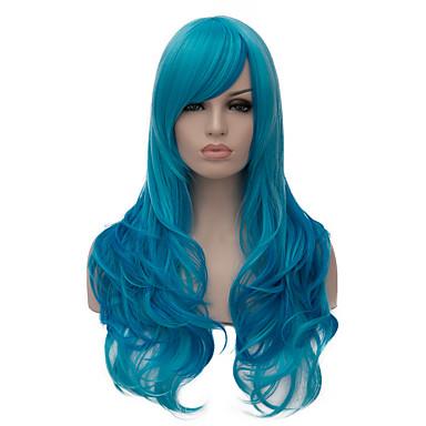 Mulher Perucas sintéticas Sem Touca Muito longo Azul Com Franjas Perucas Capless Peruca de Halloween Peruca de carnaval Perucas para