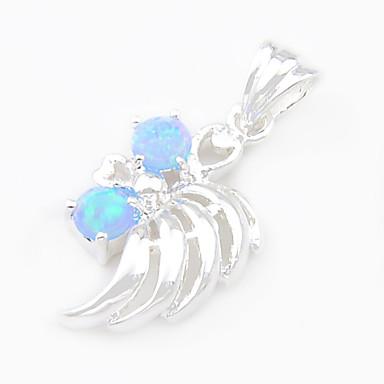 Mode luckyshine blau weißes Feuer runden Opal Edelstein 925 Silber Anhänger für Halsketten für Hochzeit täglich 1pc