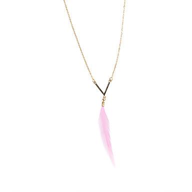 Feminino Colares com Pendentes Y-colares Pena Pena Liga Moda Vintage Ajustável Adorável Rosa claro Jóias ParaCasamento Festa Diário