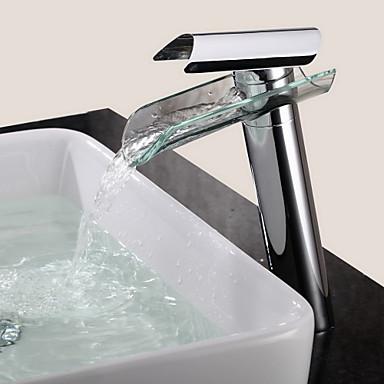 Πεπαλαιωμένο Αναμεικτικές με ενιαίες βαλβίδες Καταρράκτης Κεραμική Βαλβίδα Μία Οπή Ενιαία Χειριστείτε μια τρύπα Χρώμιο , Μπάνιο βρύση