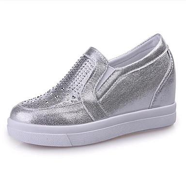 Damen-Loafers & Slip-Ons-Outddor / Lässig-Kunstleder-Keilabsatz-Wedges-Schwarz / Weiß / Silber