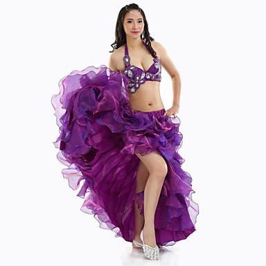Buikdans Outfits Dames Prestatie Polyester Split Voorzijde 3-delig Mouwloos Laag Top Rok Riem
